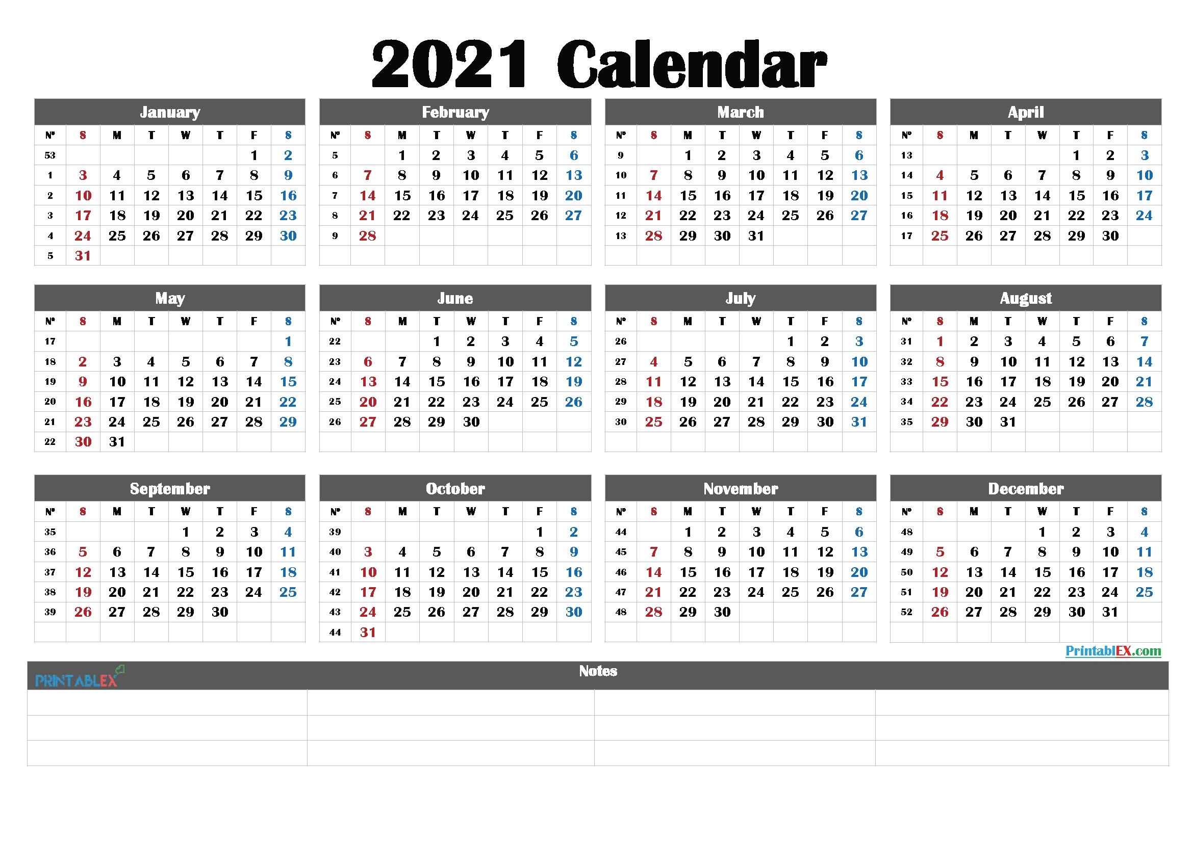 2021 Calendar With Week Numbers Printable – 21Ytw187