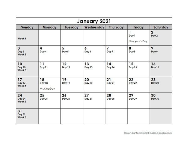 2021 Julian Calendar - Free Printable Templates