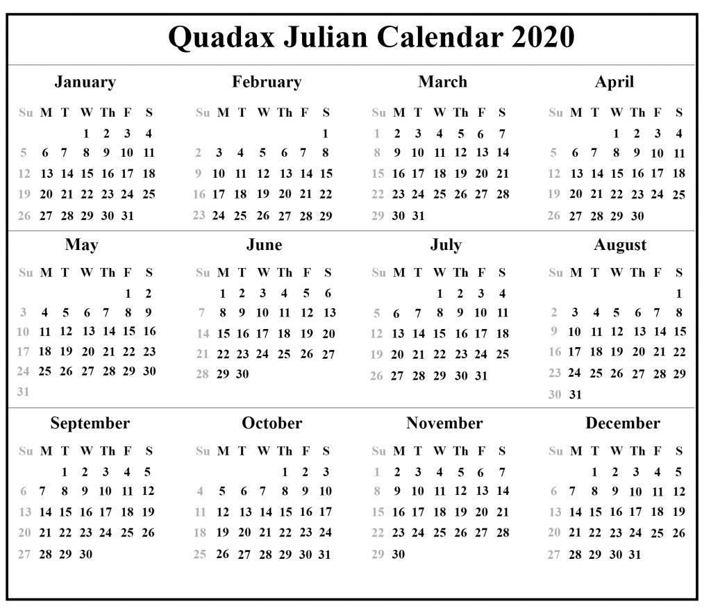 2021 Julian Date Calendar | Calendar Image 2020
