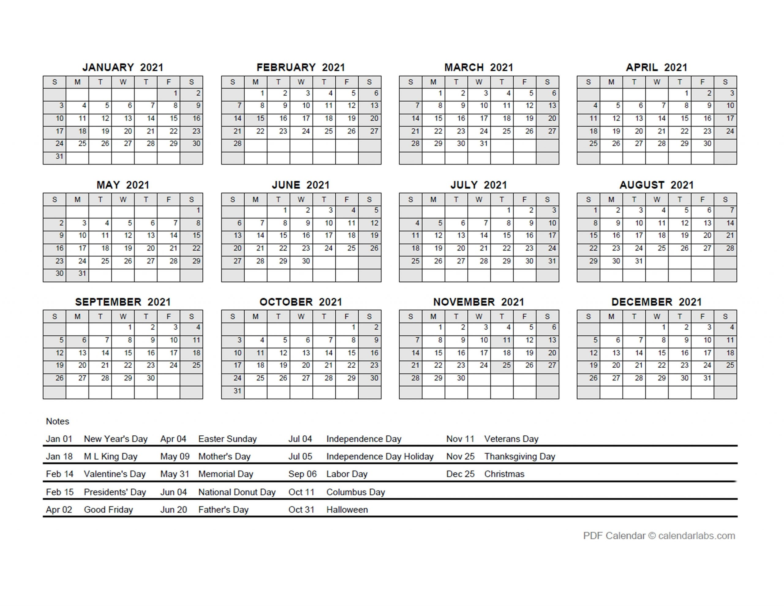 2021 Pdf Yearly Calendar With Holidays - Free Printable