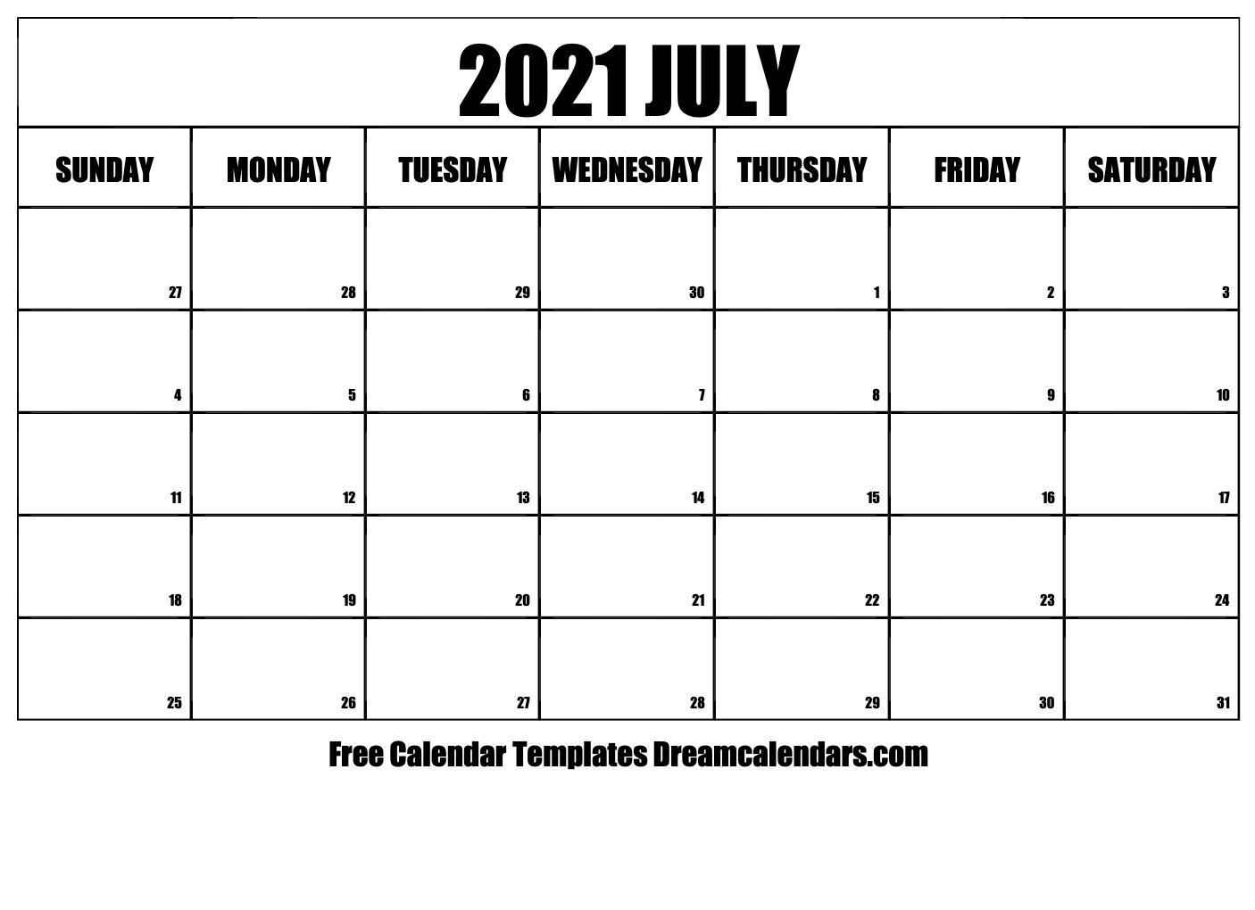 2021 Printable Calendar Free | Calendar Template Printable