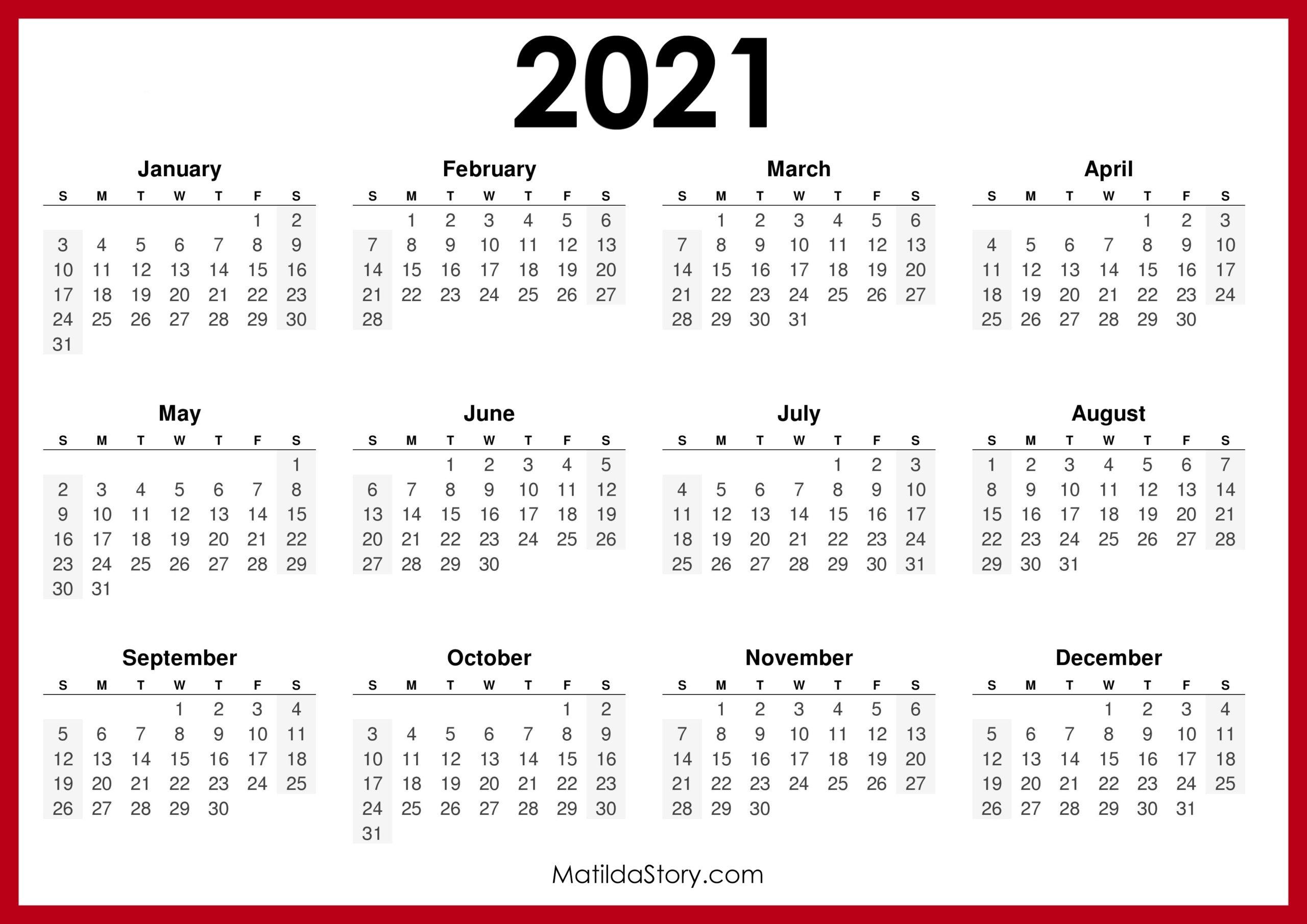 2021 Printable Free Calendar, Horizontal, Red – Sunday