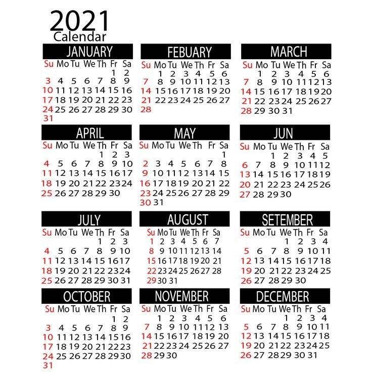 2021 Yearly Calendar Printable | Calendar 2021 In 2020