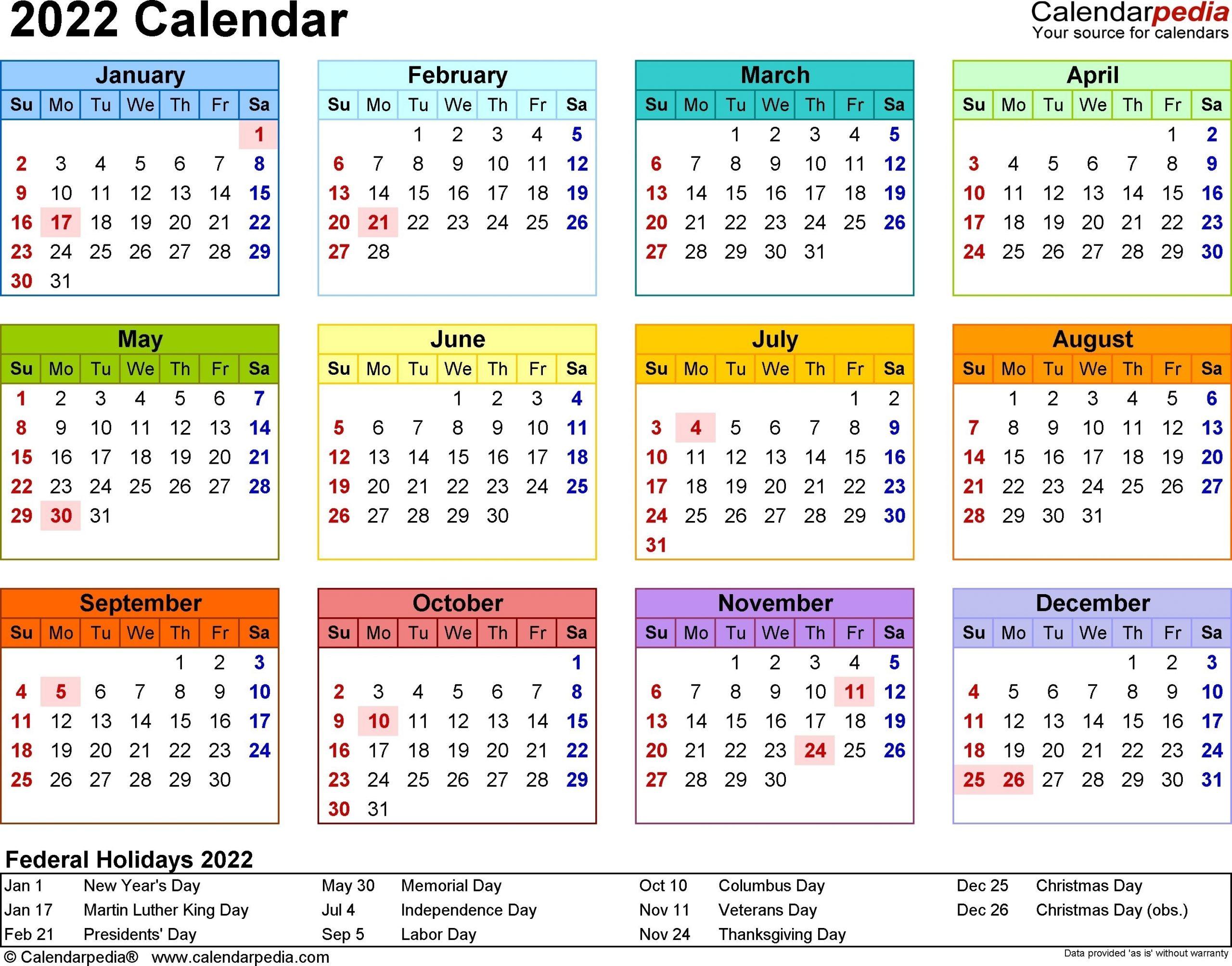 2022 Calendar - 17 Free Printable Word Calendar Templates