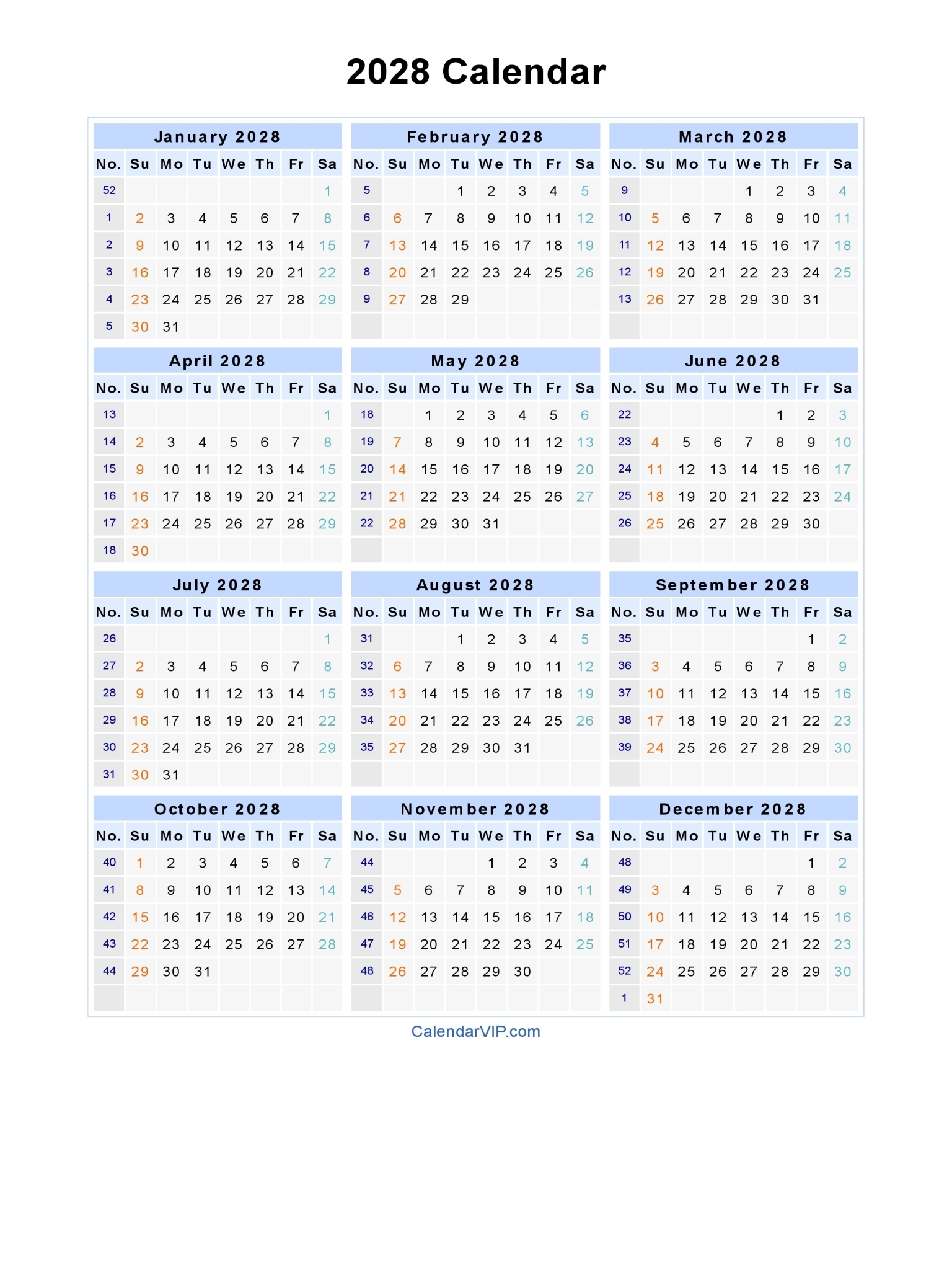 2028 Calendar - Blank Printable Calendar Template In Pdf