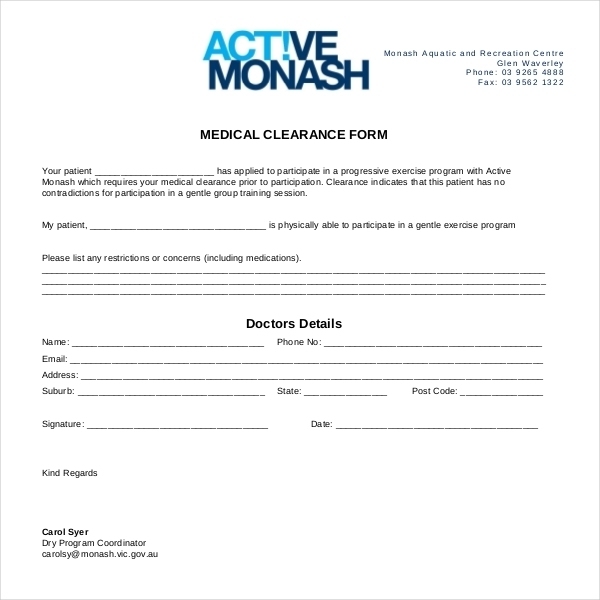 27+ Sample Medical Clearance Forms | Sample Forms