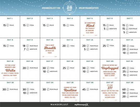 28 Day Challenge Calendar — Myfitnesspal