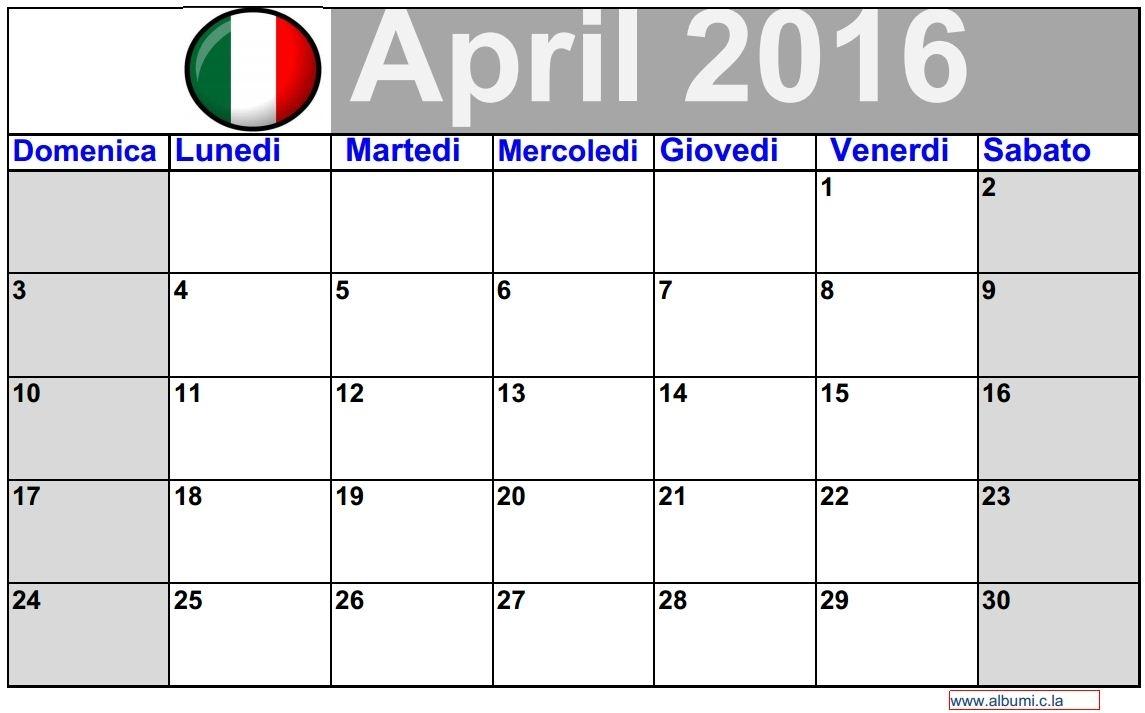 3 Calendario Abril 2016 Da Stampare - Italiano | 2016