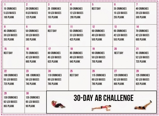 30 Day Ab Challenge Calendar | Printable Calendar Template