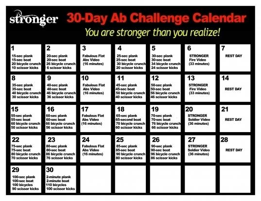 30 Day Ab Challenge Calendar   Printable Calendar Template