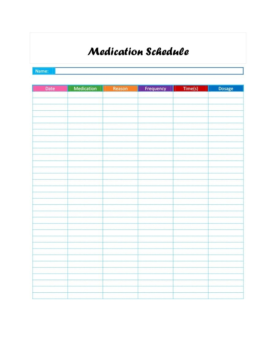 40 Great Medication Schedule Templates (+Medication