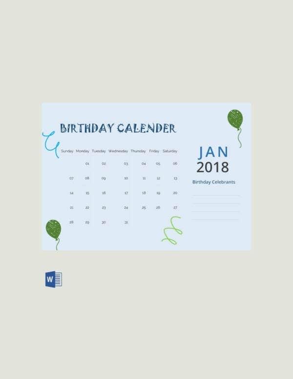 43+ Birthday Calendar Templates - Psd, Pdf, Excel | Free