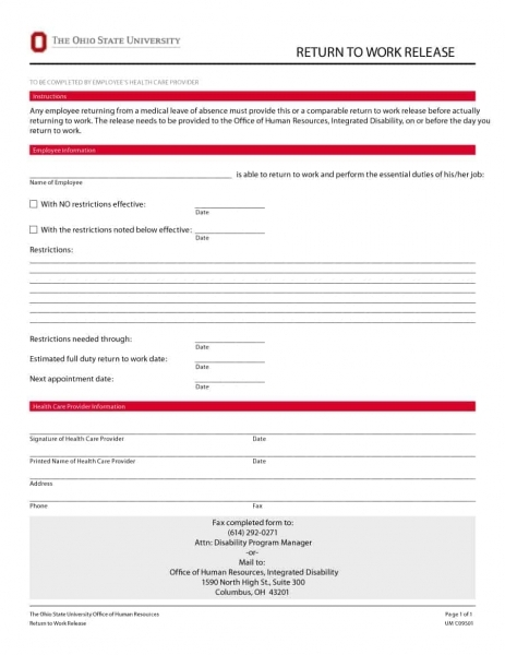 44 Return To Work & Work Release Forms   Printable Templates