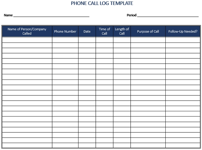 5+ Call Log Templates To Keep Track Your Calls