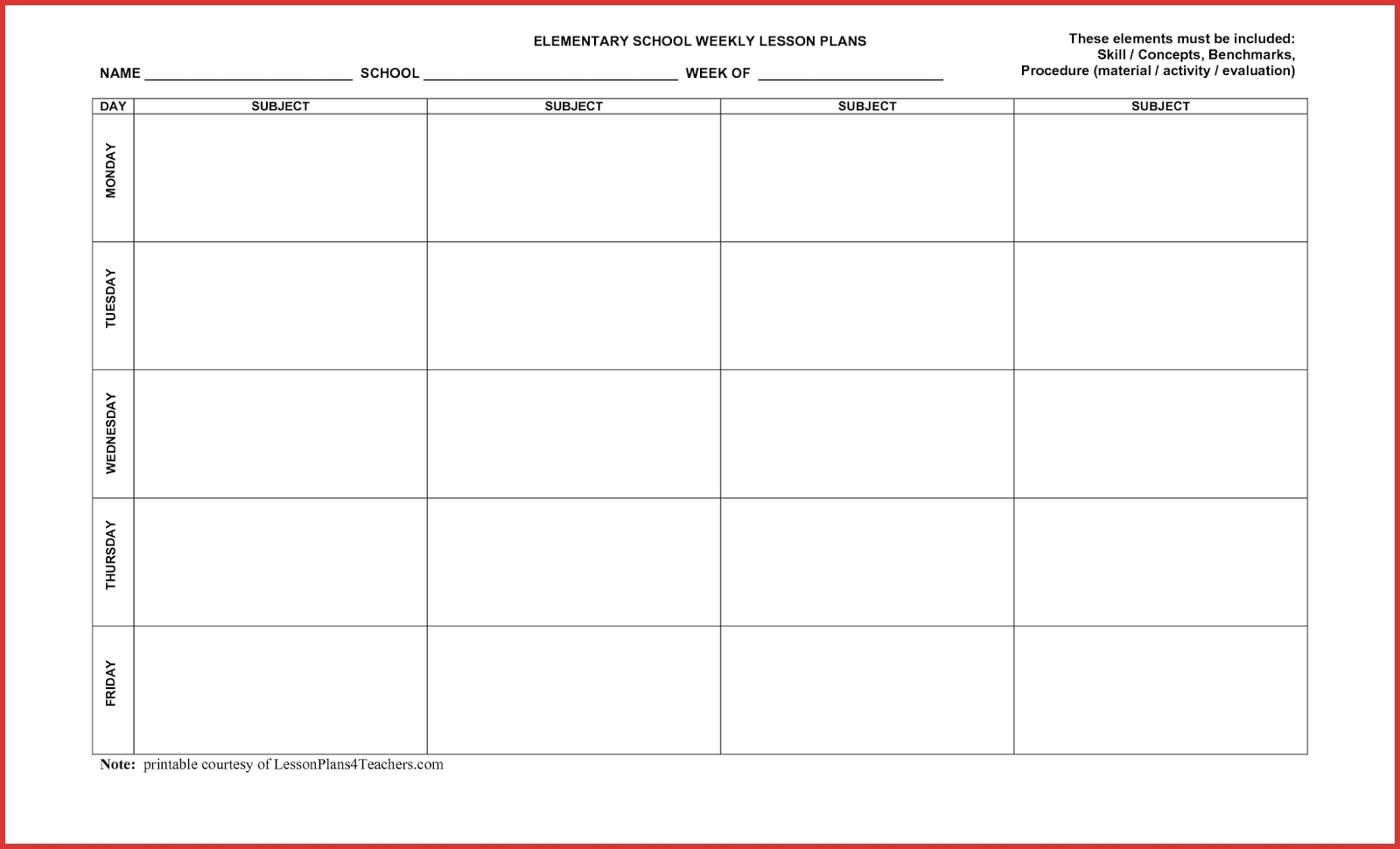 5 Day Week Printable Schedules | Example Calendar Printable