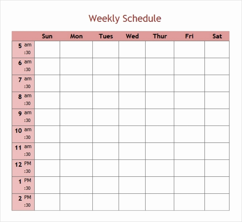 5 Day Weekly Planner Template - Calendar Inspiration Design