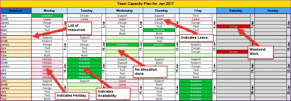 6 Excel Project Calendar Template - Excel Templates