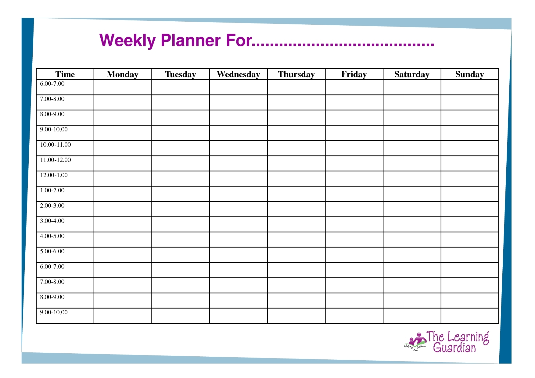 7 Day Weekly Planner Template Printable – Template