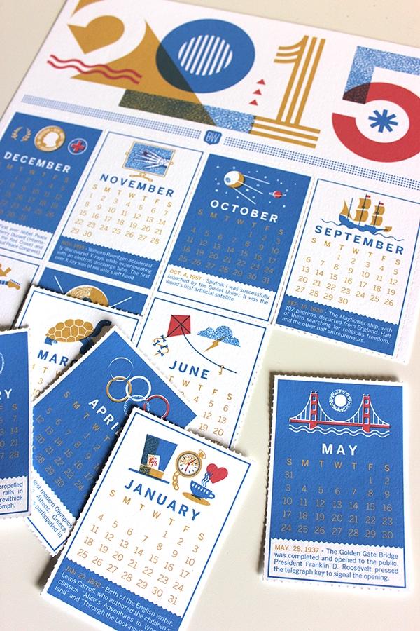 7 Striking 2015 Calendar Designs | 엽서 디자인, 문구류, 꿀벌 일러스트