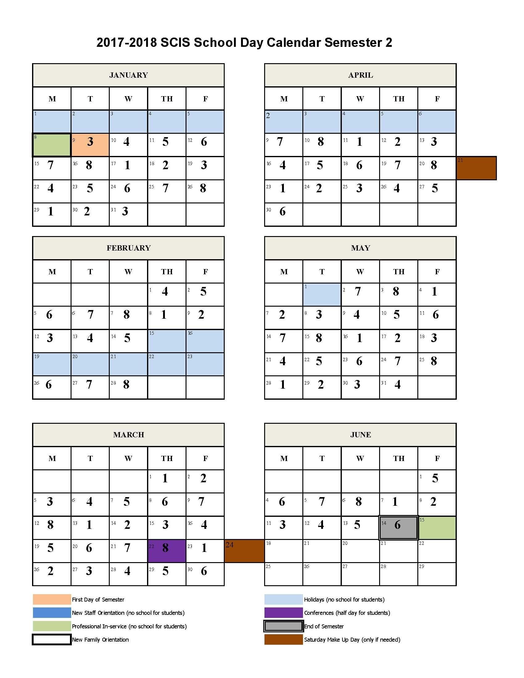 8 Day Calendar(Sem 2) 2017-2018 | Scis - Hongqiao Campus
