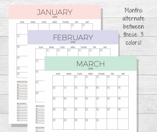 8×11 Printable Monthly Calendar | Printable Calendar