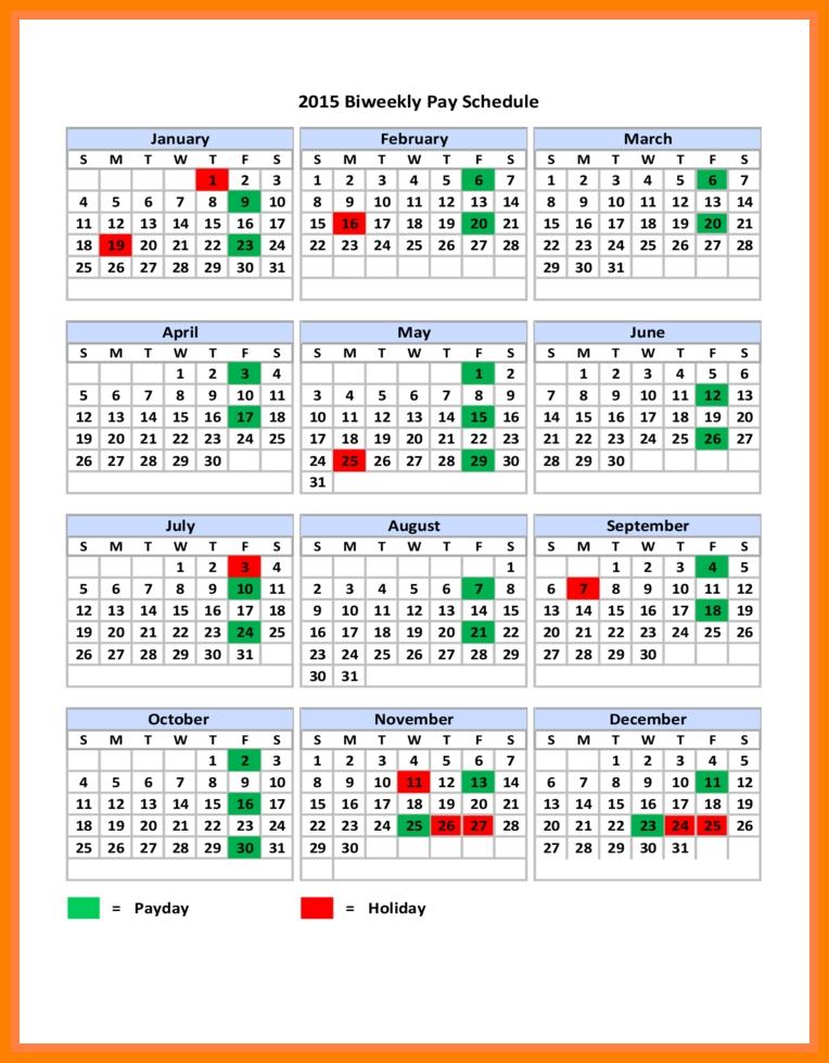 9+ Payroll Calendar Bi Weekly 2018 | Pay Stub Format