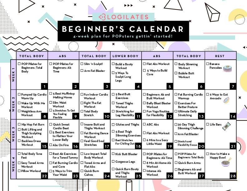 A 28-Day Workout Calendar For Beginners! | Blogilates