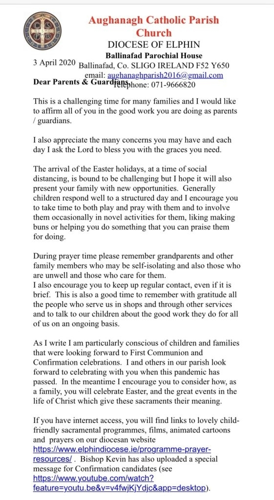 A Letter From Father Julian – Corrigeenroe National School