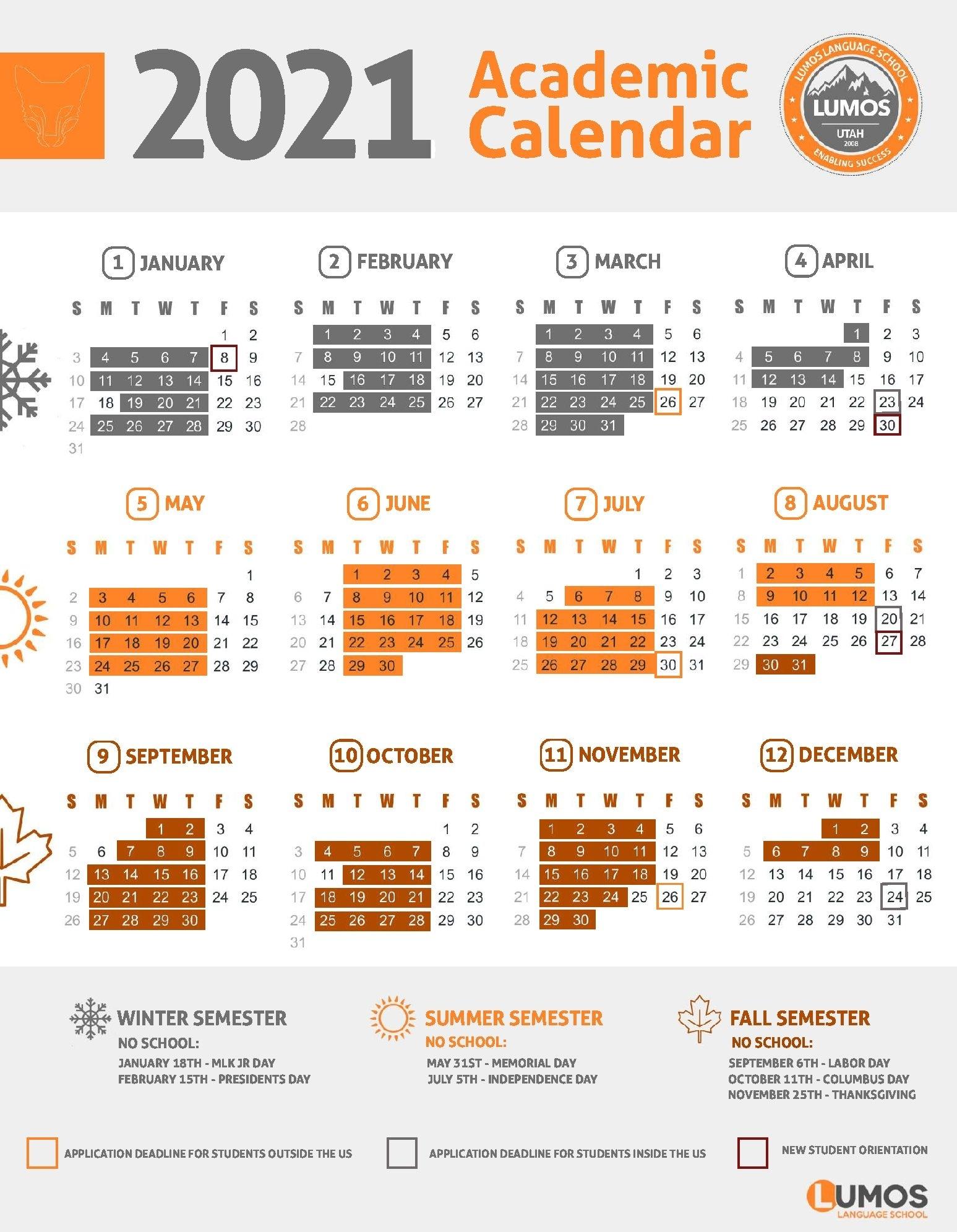 Academic Calendar 2018 2019 - Lumos Language School