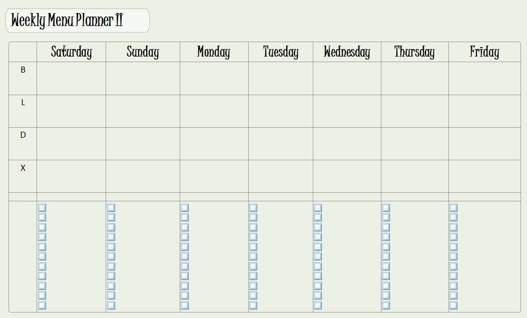 Another Version Of A Weekly Meal Planner In Onenote. Not