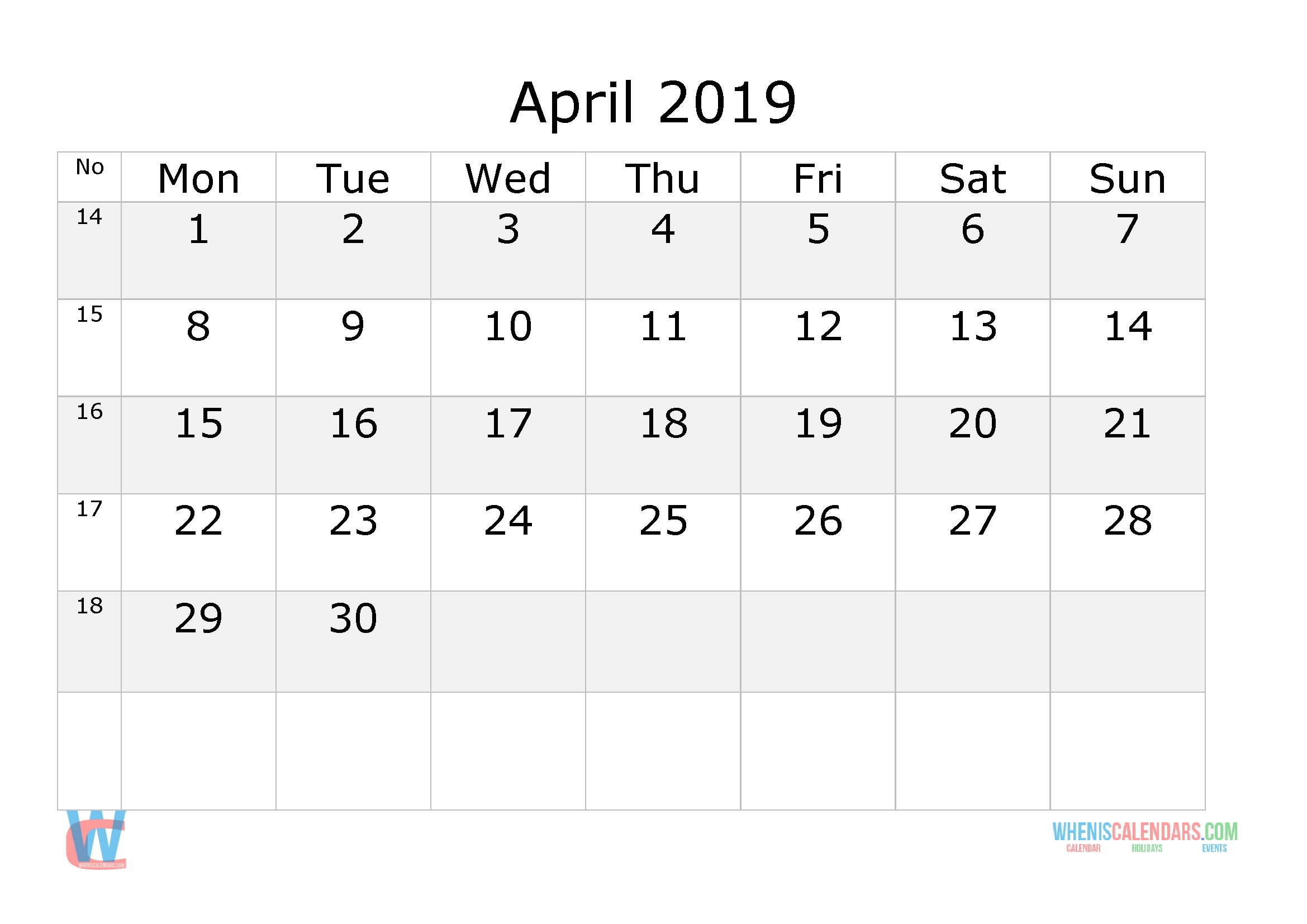 April 2019 Calendar With Week Numbers Printable, Start By