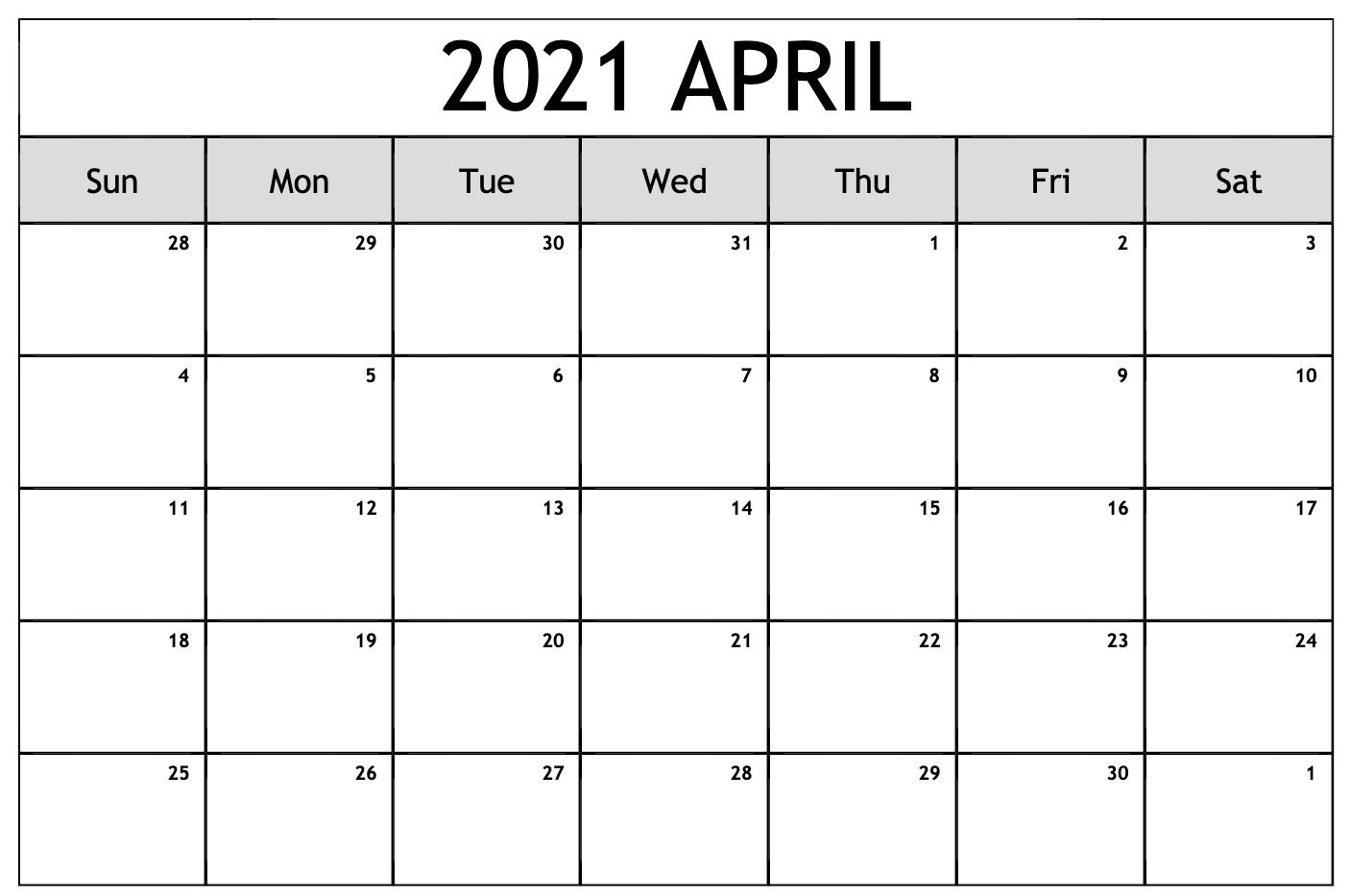 April 2021 Calendar Pdf, Word, Excel Templates In 2020
