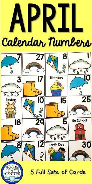 April Calendar Numbers | Calendar Numbers, Numbers