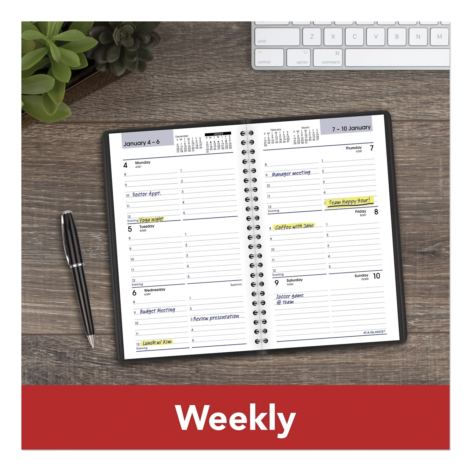At-A-Glance Block Format Weekly Appointment Book, 8 X 4 7