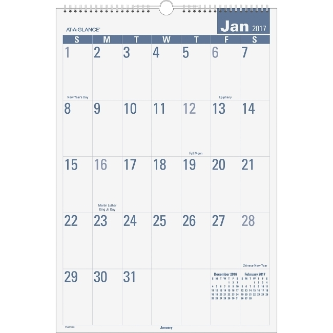 At-A-Glance E-Z Read Monthly Wall Calendar - Julian