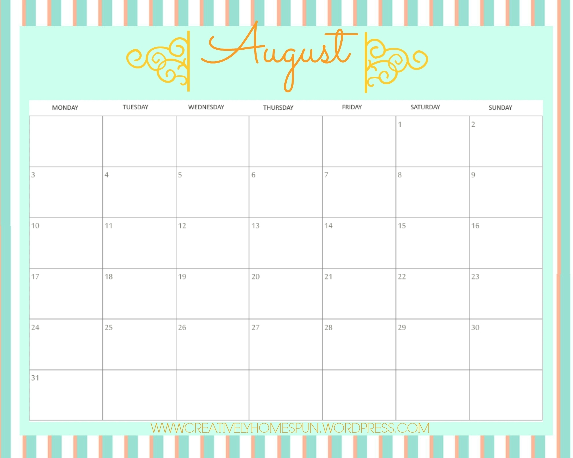 August Meal Plan! || Free Printables