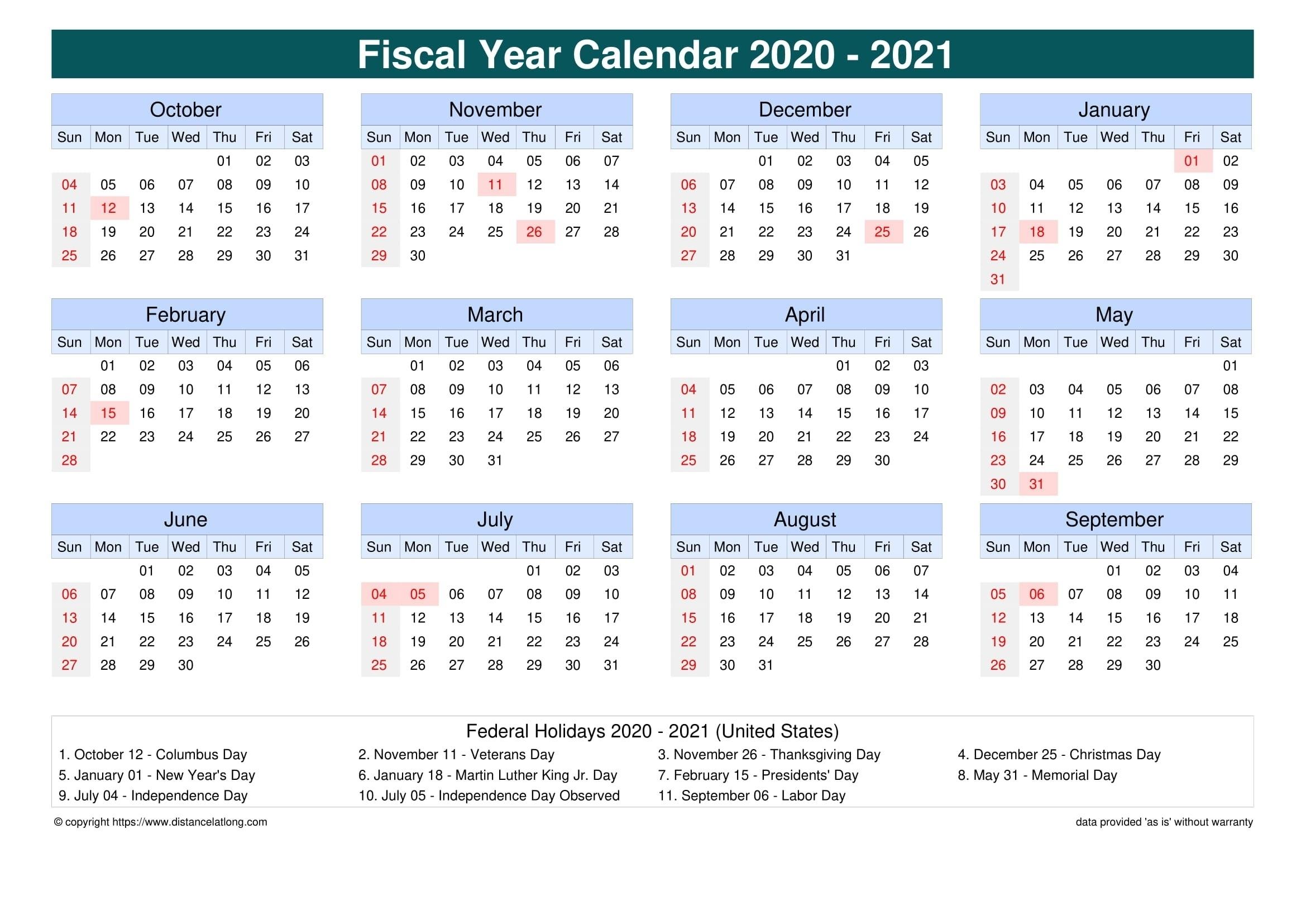 Australian Fiscal Year 2021 – Template Calendar Design