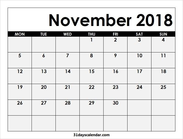 Available 2018 Calendar November Month | 31 Days Calendar