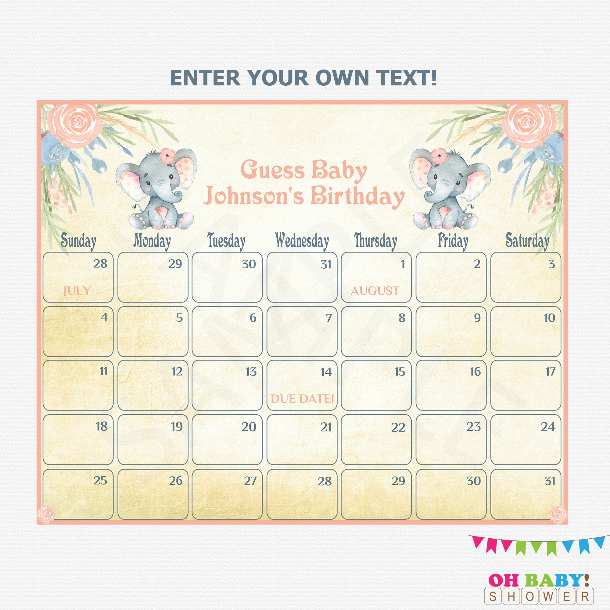 Baby Due Date Calendar Elephant Baby Shower Girl Guess | Etsy