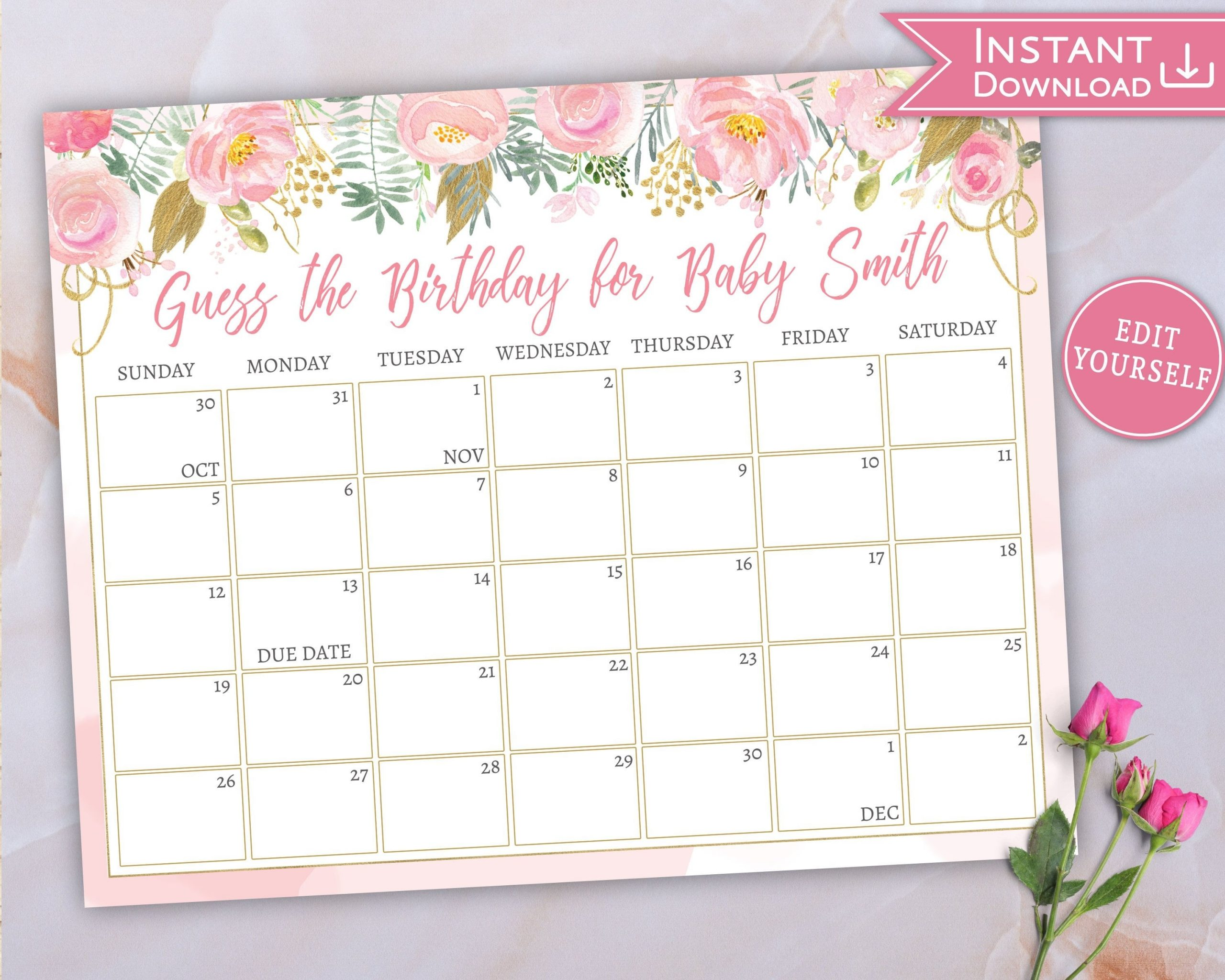 Baby Due Date Calendar, Guess Baby'S Birthday, Floral Pink