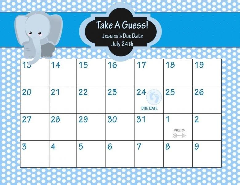 Baby Pool Calendar Baby Due Date Calendar | Babyshower