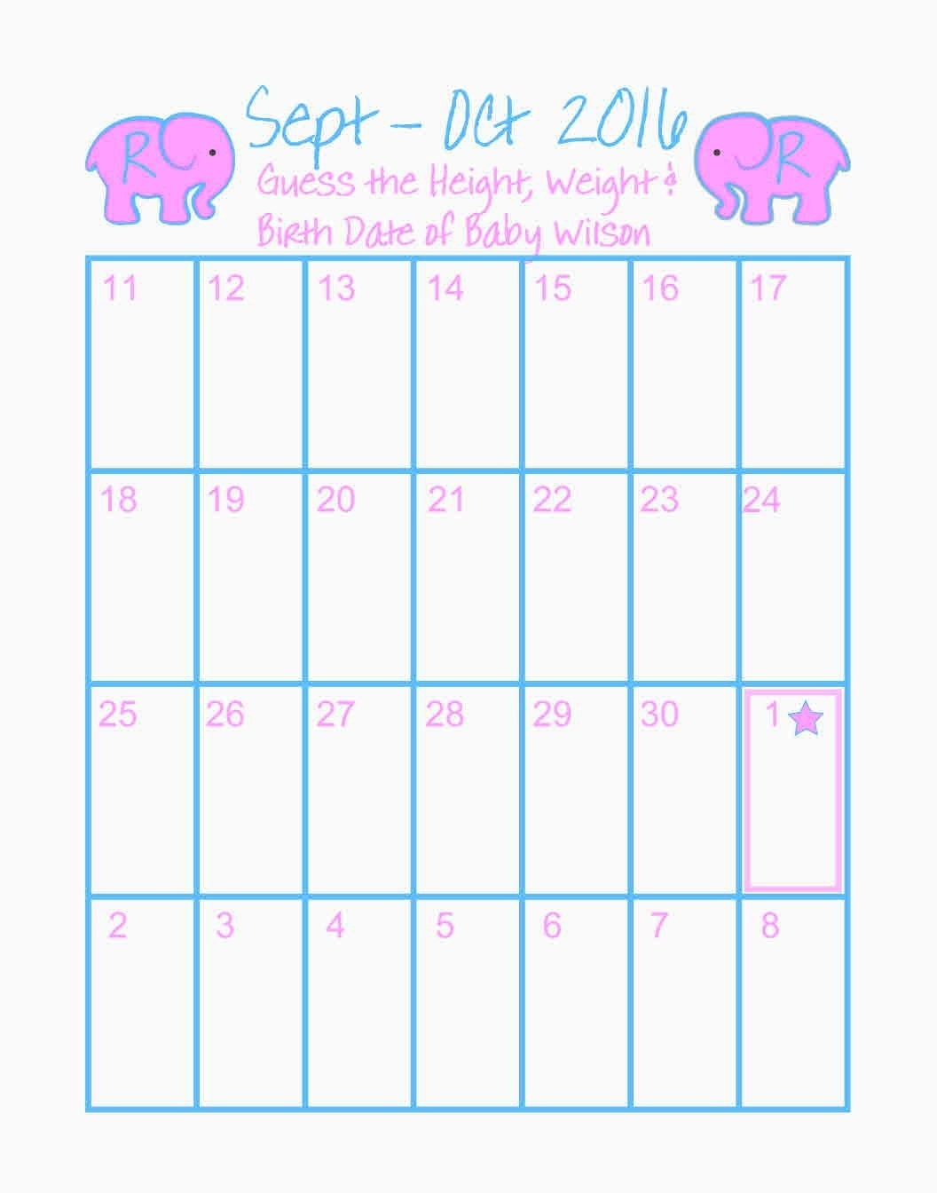 Baby Shower Calendar 11 X 14 Guess Birth Date Shower Game