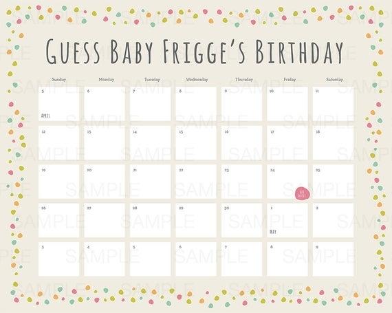 Baby Shower Due Date Calendar