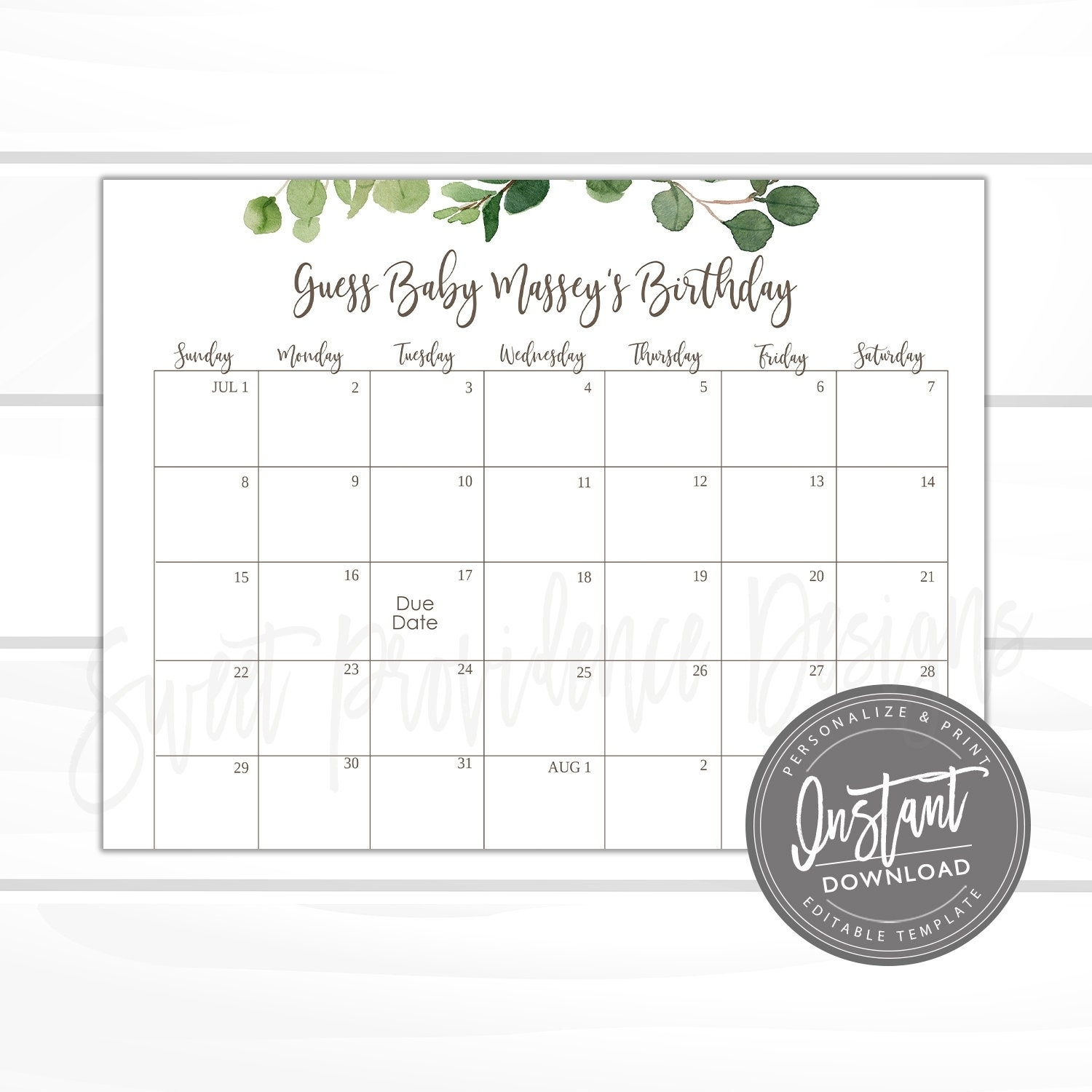 Baby Shower Due Date Calendar Game – Sweet Providence Designs