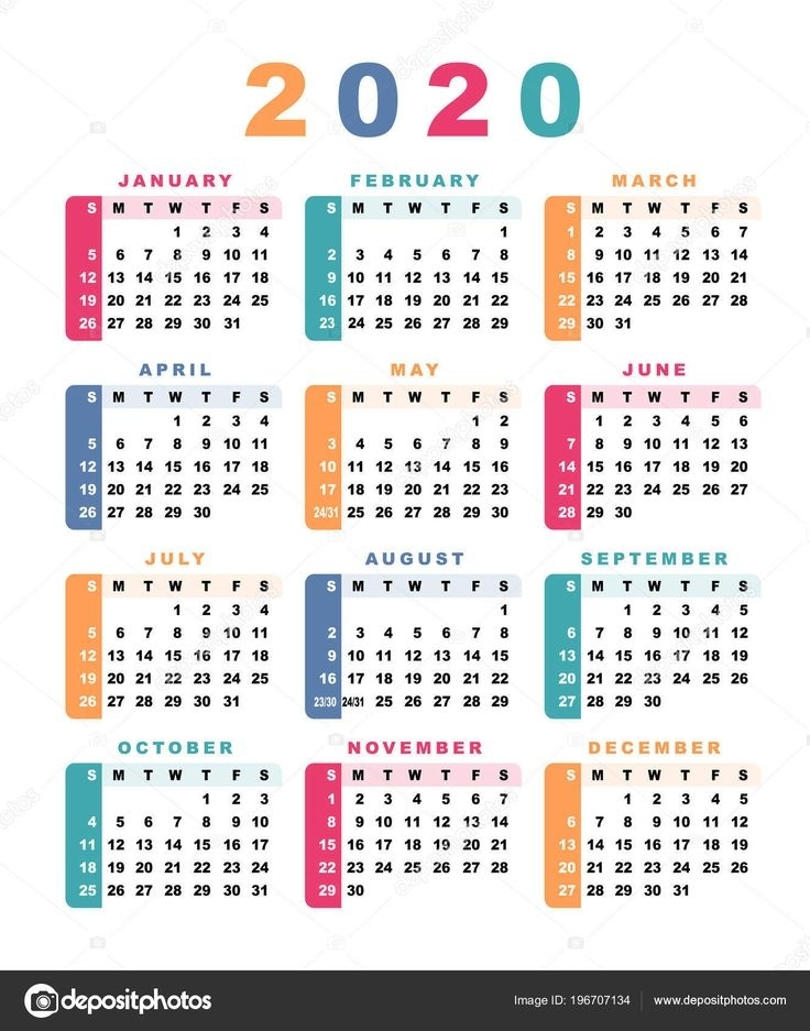 Baixar - Calendário 2020 (Semana Começa Com O Domingo