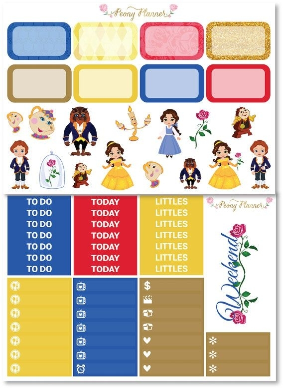 Beauty And The Beast Disney Planner Sticker Kit By