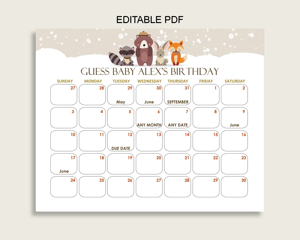 Beige Brown Guess Baby Due Date Calendar Game Printable | Etsy