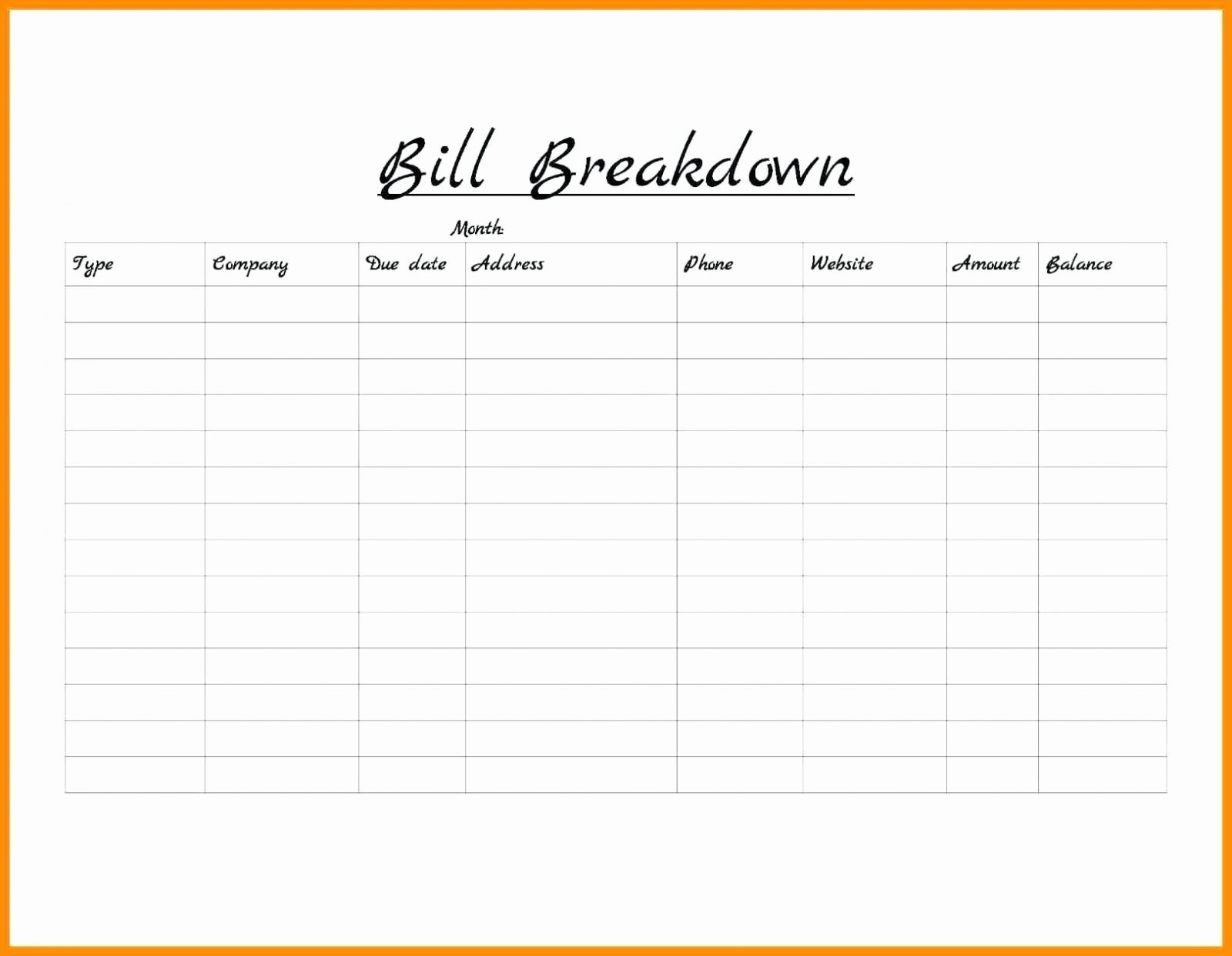 Bill Pay Schedule Spreadsheet Throughout Bill Of Sale Free