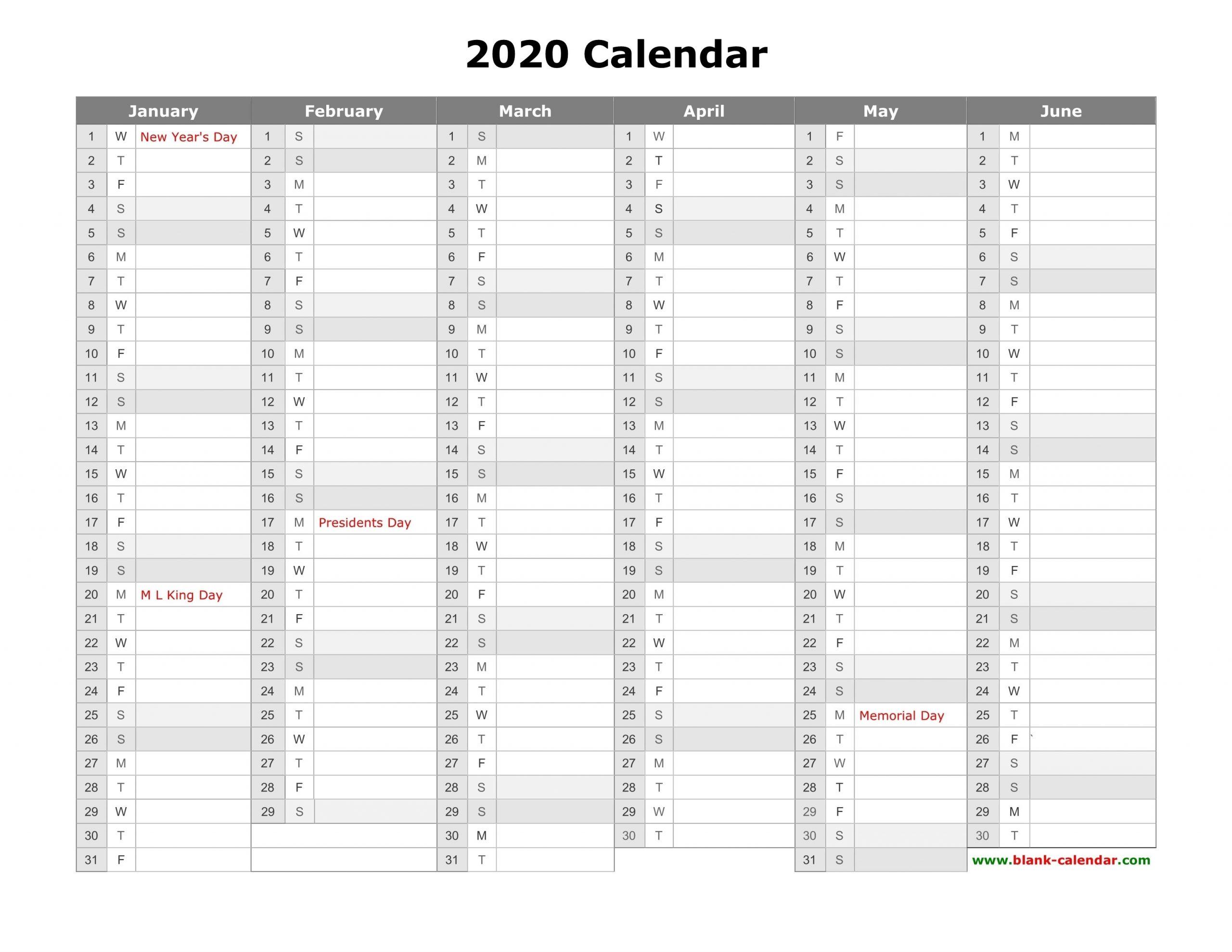 Blank 2 Pages Calendar 2020 | Calendar Template Printable