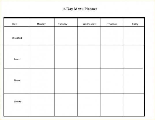 Blank 5 Day Week Calendar | Blank Calendar Template Dowload